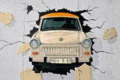 Breaking Through the Berlin Wall Vintage Car