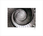 Abstract Spiral Staircase Black and White Photography