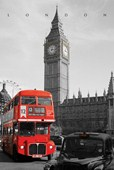 London Bus Passes Big Ben Iconic Capital City