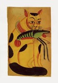 Cat with Prawn Indian Popular Painting from Kalighat
