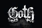 Metallic Silver on Black Silver Goth Logo