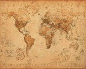 Antique Style Map Map of the World