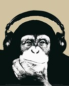 Monkey with Headphones Thinking by Steez
