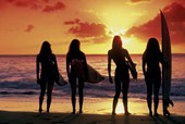 Surf Silhouette Babes on the Beach